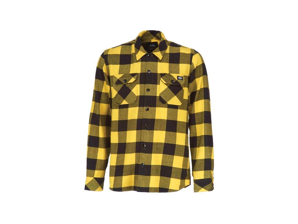 Motorkářská flanelová košile s dlouhým rukávem a motivem kostky Dickies SACRAMENTO YELLOW ve žluté barvě
