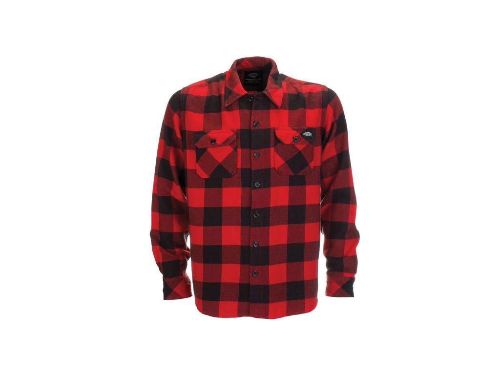 Motorkářská flanelová košile s dlouhým rukávem a motivem kostky Dickies SACRAMENTO RED v červené barvě