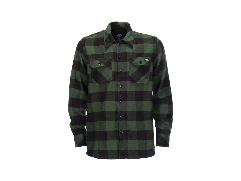 Motorkářská flanelová košile s dlouhým rukávem a motivem kostky Dickies SACRAMENTO PINE GREEN v zelené barvě