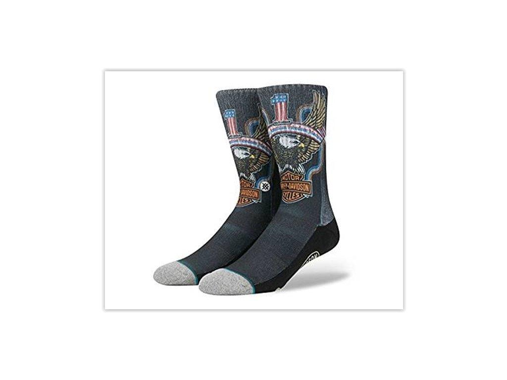 Motorkářské pánské bavlněné ponožky Stance FREEDOM MACHINE v černé barvě