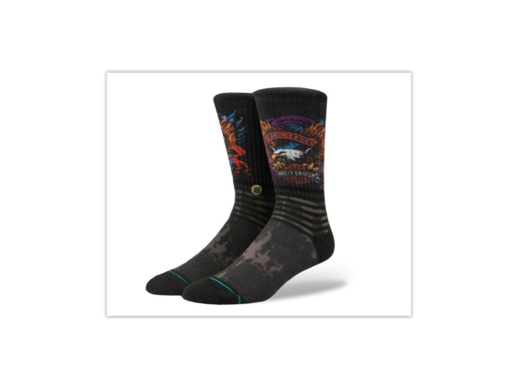 Motorkářské pánské bavlněné ponožky Stance WORLD FAMOUS BLACK v černé barvě