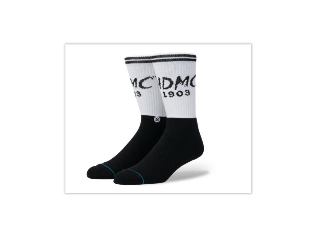 Motorkářské pánské bavlněné ponožky Stance V-TWIN BLACK v černo-bílé barvě