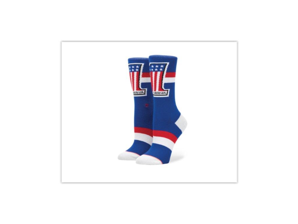 Motorkářské pánské bavlněné ponožky Stance HARLEY WASHED FREEDOM BLUE v modré barvě