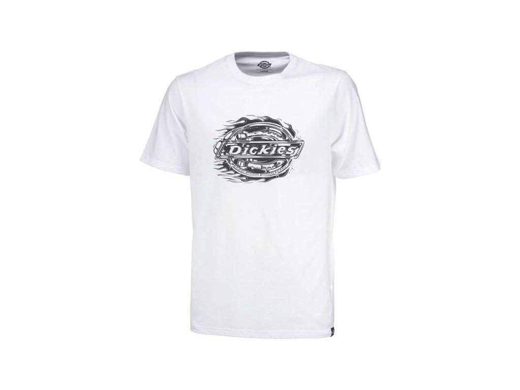 Motorkářské bavlněné triko s krátkým rukávem a potiskem Dickies CONROE WHITE v bílé barvě