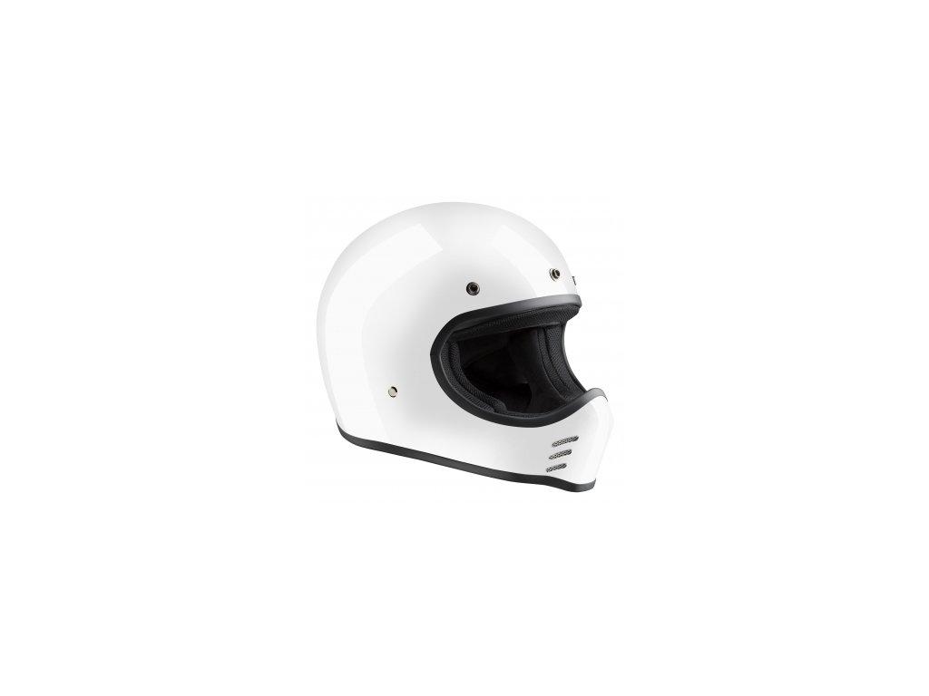 Motorkářská lehká integrální helma Bandit HISTORIC HMX-ECE v bílé barvě