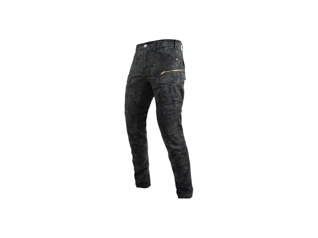 Motorkářské bavlněné kalhoty s kevlarovými vrstvami John Doe STROKER CAMOUFLAGE v khaki barvě