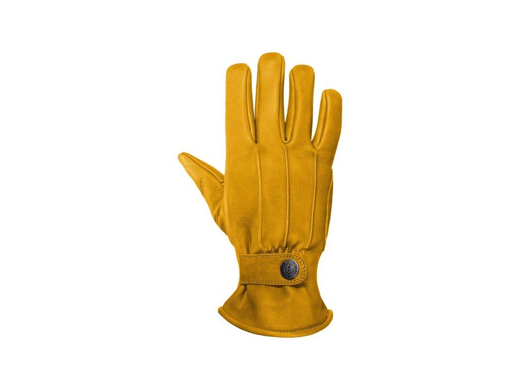 Motorkářské rukavice z hovězí kůže John Doe FREEWHELEER GLOVES YELLOW ve žluté barvě