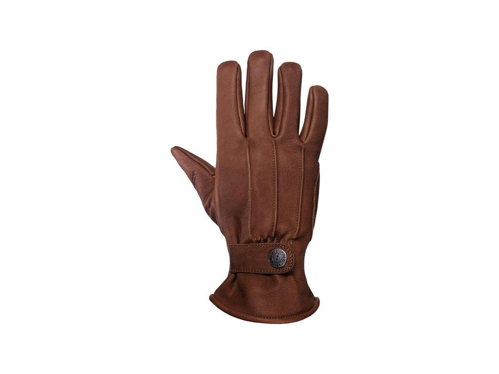 Motorkářské rukavice z hovězí kůže John Doe FREEWHELEER GLOVES BROWN v hnědé barvě