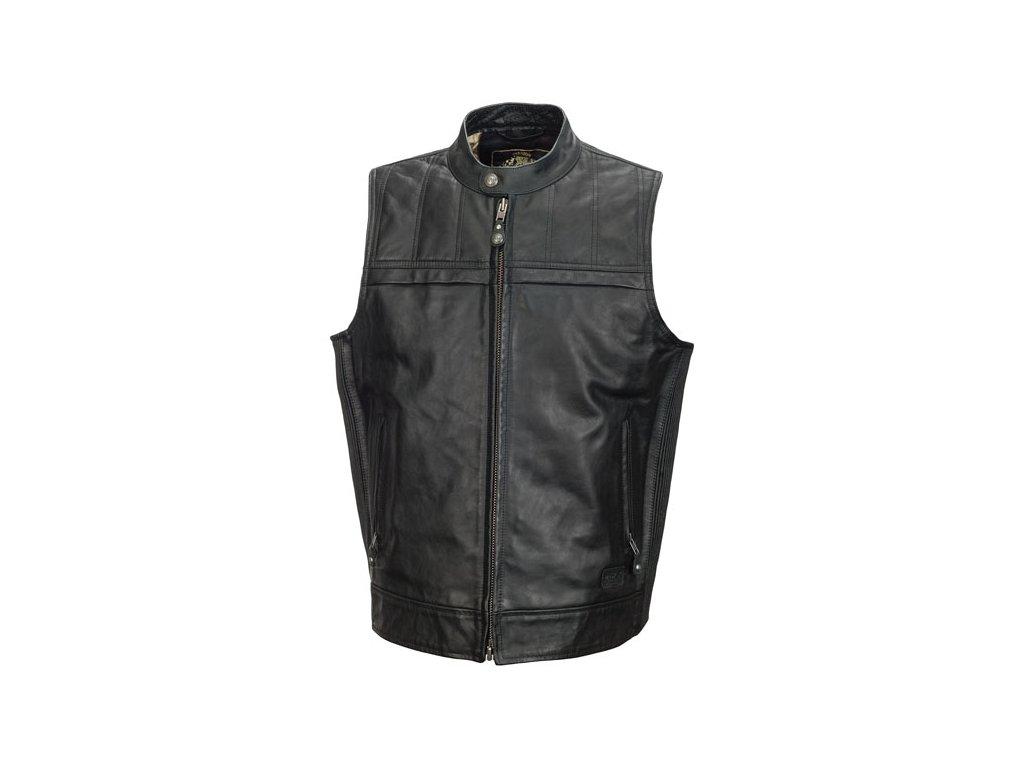 Motorkářská kožená vesta ROLAND SANDS DESIGN COLT LEATHER BLACK v černé barvě