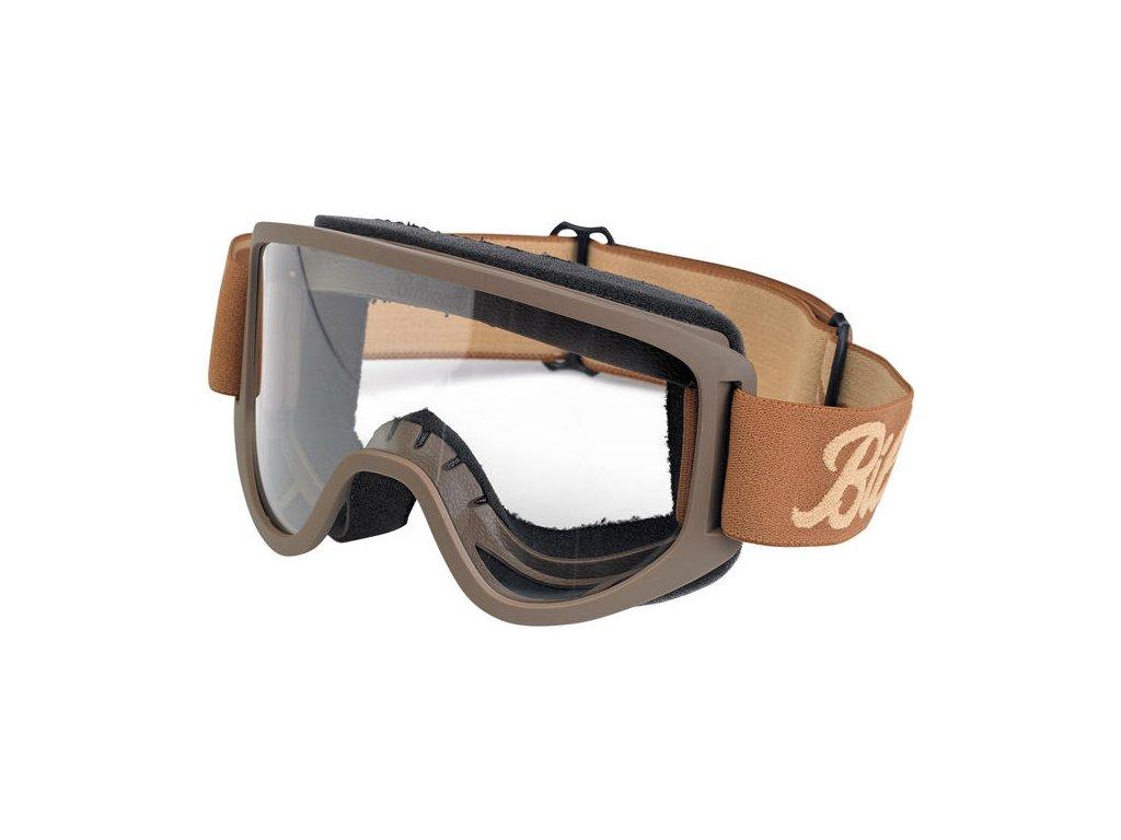 Motorkářské brýle s úpravou zabraňující mlžení Biltwell MOTO 2.0 Script Chocolate ve světle hnědé barvě