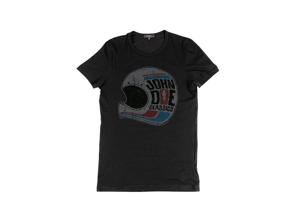 Motorkářské bavlněné triko s potiskem John Doe HELMET t-shirt v černé barvě