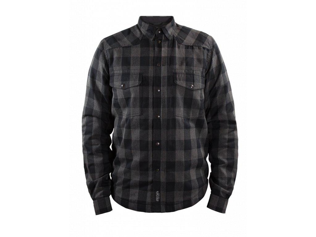 Motorkářská kevlarová mikina John Doe Motoshirt Lumberjack Grey/Black v černo-šedé barvě