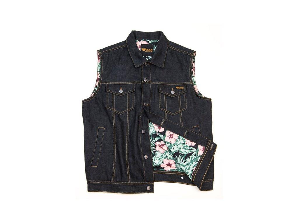 Motorkářská džínová vesta z voskovaného denimu ROEG KALE v tmavě modré barvě