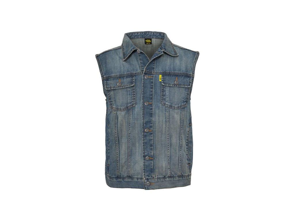 Motorkářská kvalitní džínová vesta MCS v jeans barvě