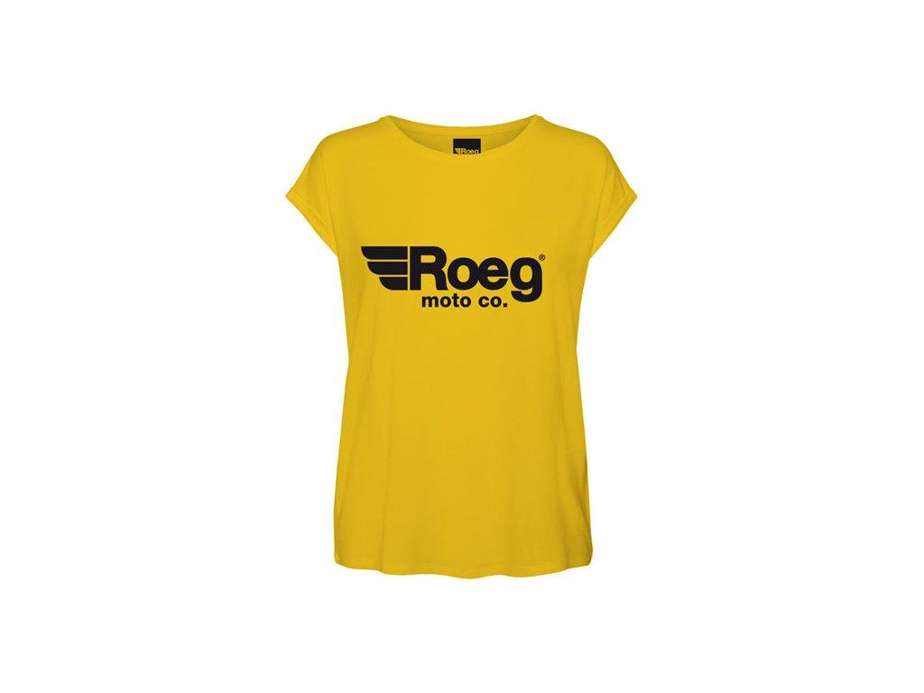 Motorkářské bavlněné dámské triko ROEG OG LADY YELLOW ve žluté barvě