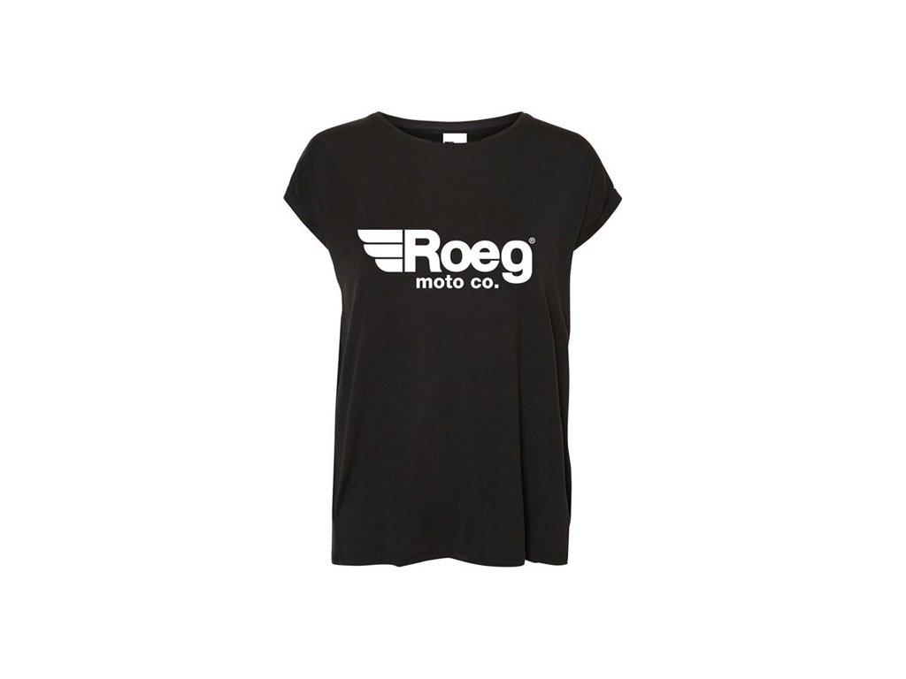 Motorkářské bavlněné dámské triko ROEG OG LADY BLACK v černé barvě
