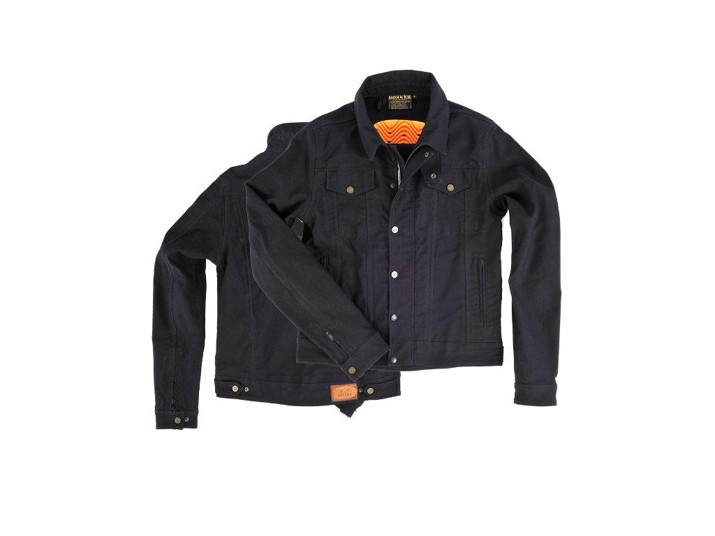 Motorkářská džínová bunda z voskovaného denimu ROKKER MOTO BUNDA v tmavě modré barvě