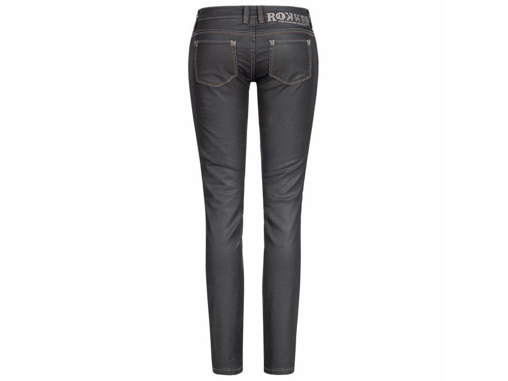 Motorkářské klasické džíny Comfort-Fit ROKKER THE DIVA BLACK JEANS v černé barvě