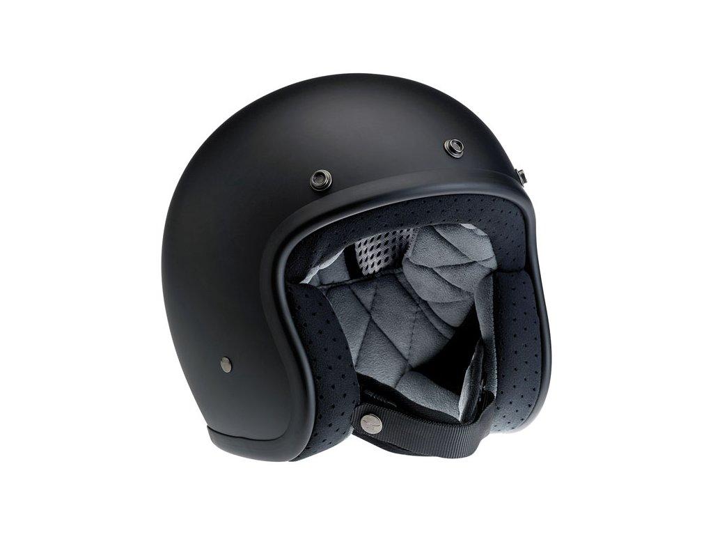 Motorkářská lehká otevřená helma Biltwell BONANZA FLAT BLACK v černé barvě