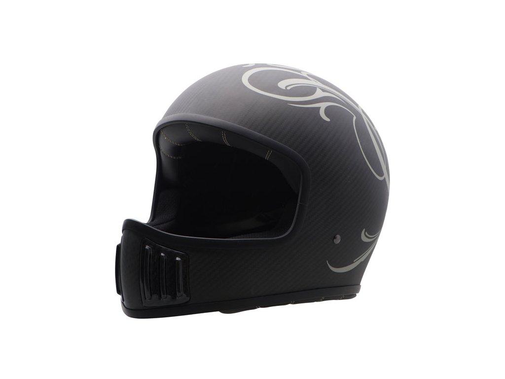 Motorkářská karbonová lehká integrální helma (přilba) ROUGH CRAFTS CENTER  ROOTS v matné černé barvě 9966eaaa2c