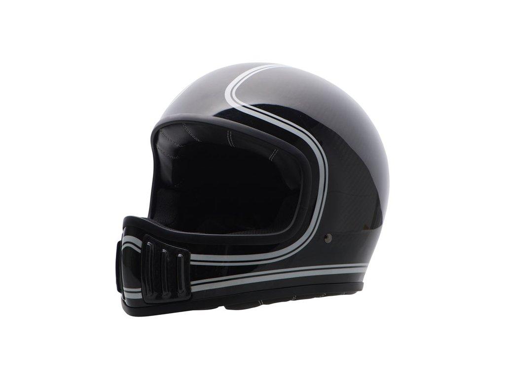 Motorkářská karbonová lehká integrální helma (přilba) ROUGH CRAFTS FISTFIGHER v lesklé černo-šedé barvě
