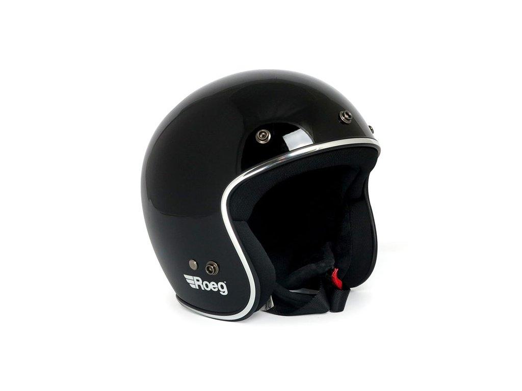 Motorkářská otevřená helma (přilba) Roeg JETT Gloss Black v černé barvě