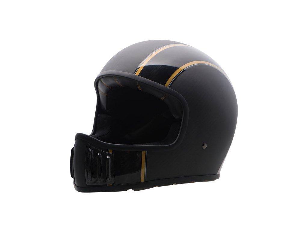 Motorkářská karbonová lehká integrální helma (přilba) ROUGH CRAFTS CANNON v matné černo-zlaté barvě