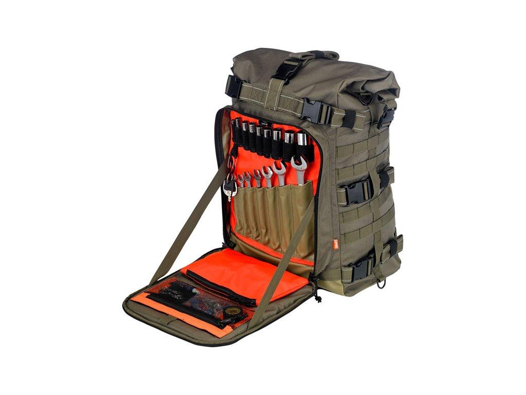 Motorkářský nepromokavý batoh pro jezdce BILTWELL EXFILL 80, GREEN v khaki barvě