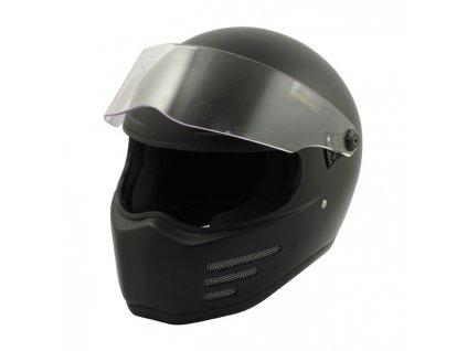 Motorkářská lehká integrální helma FIGHTER MATT BLACK ECE v černé matné barvě