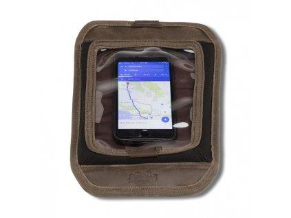 Motorkářská magnetická kapsa na nádrž motocyklu pro uložení telefonů, malých tabletů, map a dokonce některých GPS zařízení Burly MAP TANK SCREEN  DARK OAK v hnědé barvě. TW Ryder