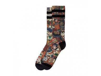 Motorkářské bavlněné vysoké nadkolenky American Socks ve světlé barvě