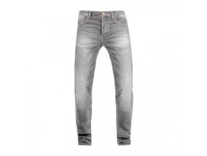 Motorkářské vodě odolné kevlarové kalhoty John Doe IRONHEAD USED LIGHT GREY v šedé barvě