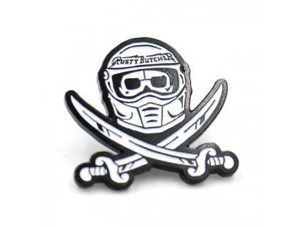 Kovový odznáček Rusty Butcher Race Head Pin, velikost 2,5cm. TW Ryder