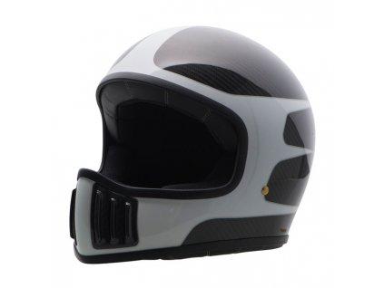 Motorkářská karbonová lehká integrální helma (přilba) ROUGH CRAFTS SCALLOP v černo-šedé barvě