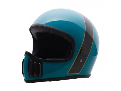 Motorkářská karbonová lehká integrální helma (přilba) ROUGH CRAFTS SOLID-TORQUOISE v lesklé černo-tyrkysové barvě
